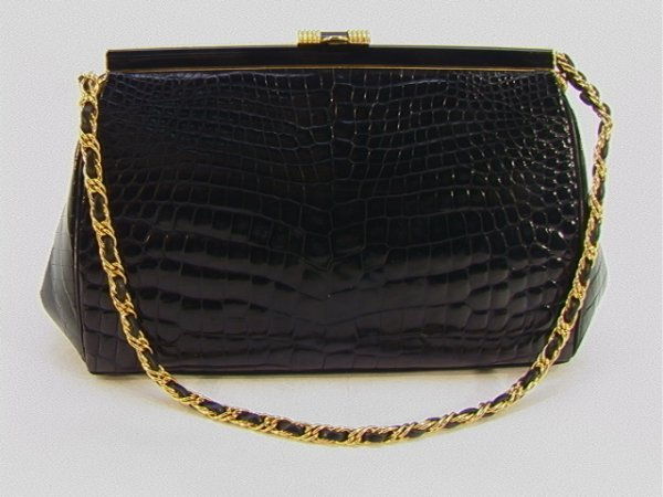 714: Coblentz Genuine Black Crocodile Handbag Purse. Sm