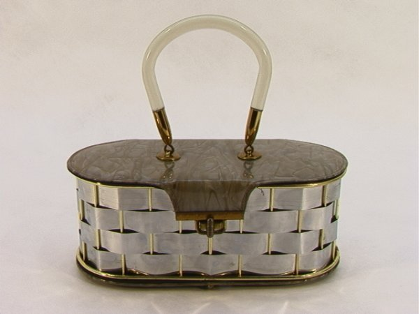 717: Lucite and Vinyl Box Purse Basket weave body, Marb