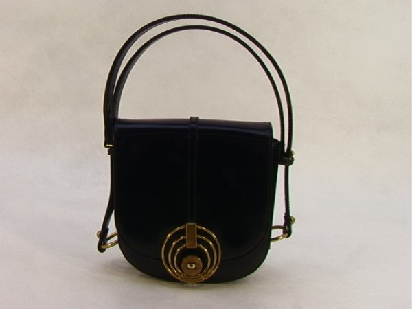 718: DOFAN French 1960s Mod Black Leather Bag Purse.  H