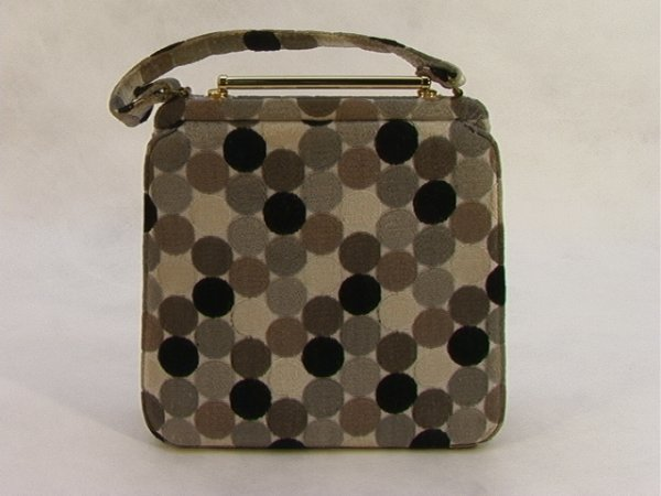 719: 1950s Op Art Mod Fabric Purse Handbag with Random