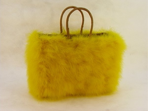720: Yellow Ostrich Down HAPPY CAPPERS Large Bag Purse.