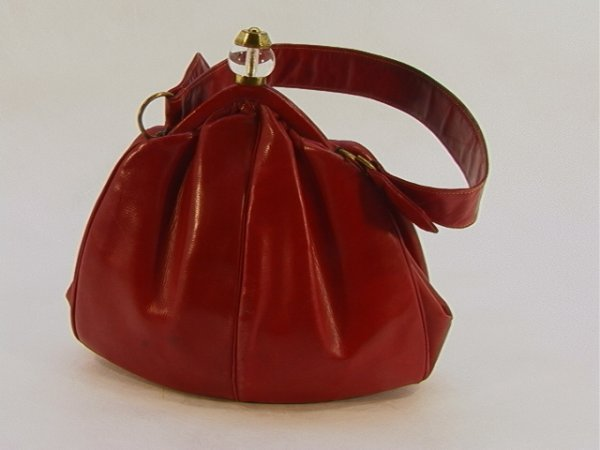 721: Red Leather Art Deco Handbag Purse.  Lucite and Br