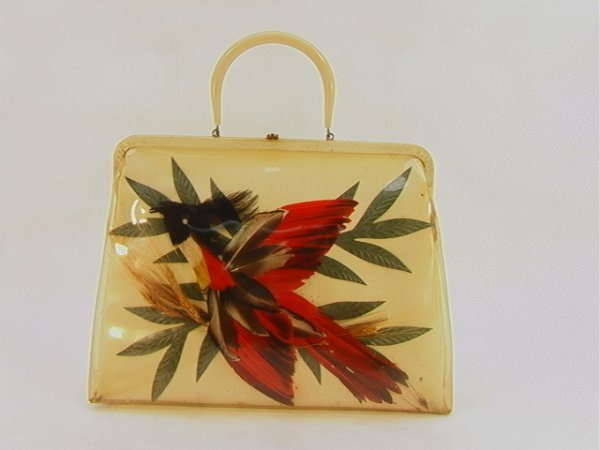 722: ETRA Rare Oversized Handbag Purse with Feather Bir