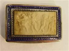 832 French Sterling Snuff Box Enamel Carved Ivry Sil