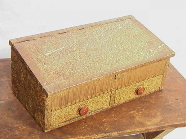 1062: Antique Grain Painted Country Slant Lid Box Writi