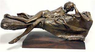 BRUNO LUCCHESI Figural Nude Bronze Table Sculpture. Wal