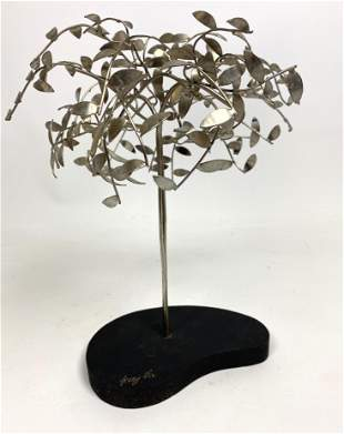 Signed Jerry Fels Metalcraft Tree Table Sculpture. Sign