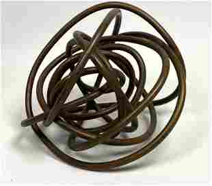 Modernist Twisted Copper Table Sculpture  Abstract Ball