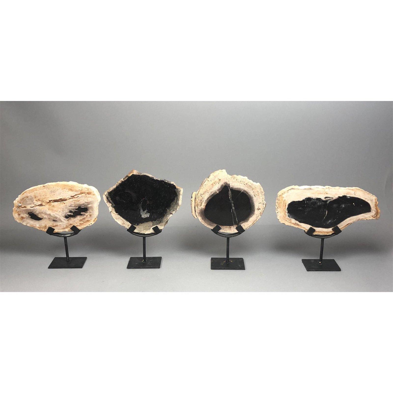 4 Loon Peak Petrified Wood Slab Table Sculptures. Custo