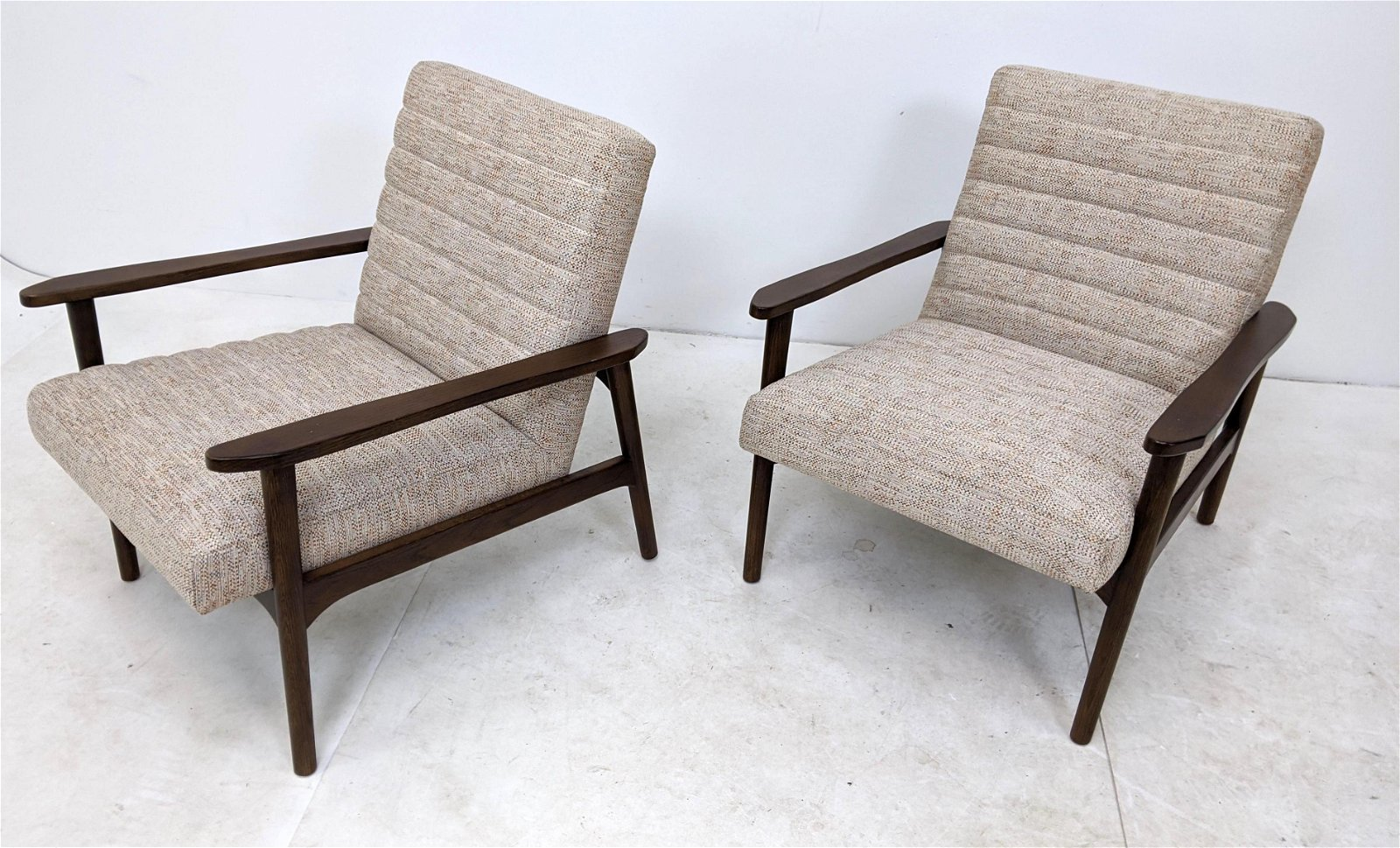 Contemporary Modernist Side Lounge Arm Chairs. Marked.