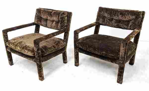 Pr Brown Velvet Fully Upholstered Side Arm Chairs. Tuft