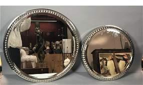 2pc Heavy Chrome Steel Round Wall Mirrors. Modernist fr