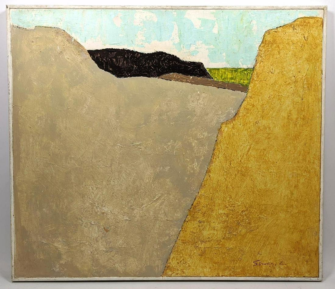 """WILSON L. SCRUGGS Modernist Abstract Oil on Board. """"Gre"""