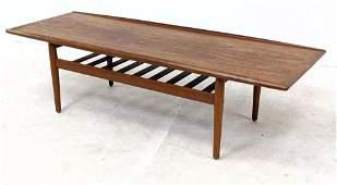 GRETE JALK Danish Modern Teak Coffee Table. Surfboard f