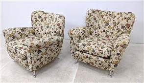 Pr Italian Style Wing Floral Upholstered Lounge Chairs.