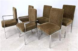 6 Milo Baughman Style Upholstered Chrome Dining Chairs.