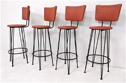 4pc Weinberg Style Black Iron Bar Stools Red vinyl sea