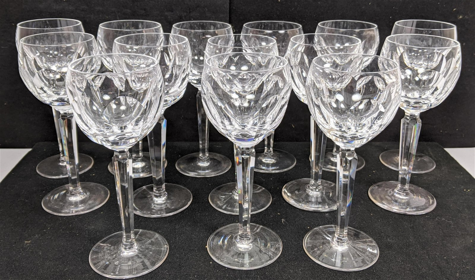 14pc WATERFORD Fine Crystal Stemware. Faceted stems.
