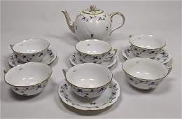 11pc HEREND Hungary Porcelain Tea Set Service Blue and