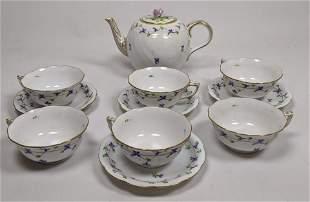 11pc HEREND Hungary Porcelain Tea Set Service. Blue and