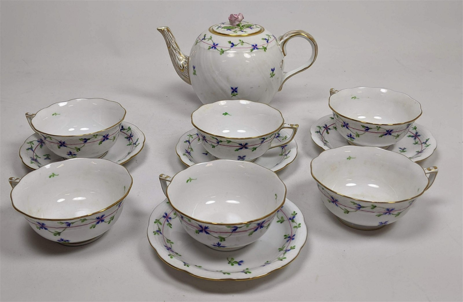 11pc HEREND Hungary Porcelain Tea Set Service. Blue and