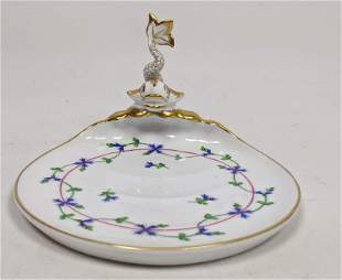 HEREND Hungary Small Dolphin Dish. Blue and pink flower