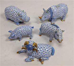 5pc Fishnet HEREND Hungary Figural Animals Figures. Rhi