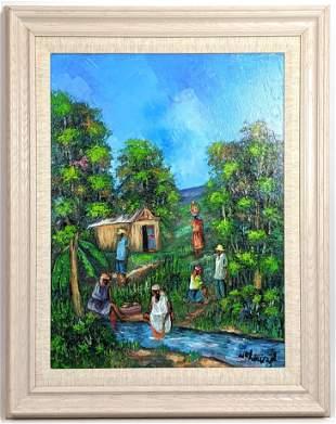 W. CHORIZOL Impressionist Painting. Tropical landscape