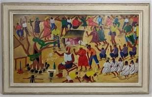 CASIMIB Haitian Figural Ceremonial Painting. Haitian re