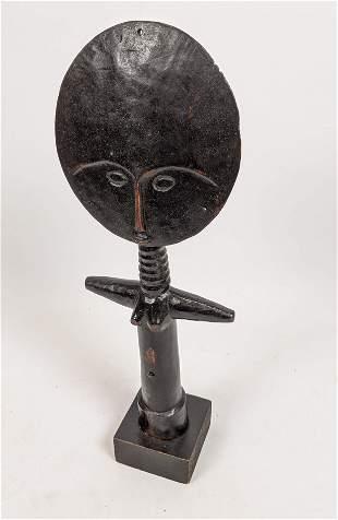 Carved Wood Ethnographic Totem Figural Sculpture. Large