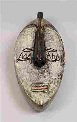 Polychrome Painted Carved Wood Tribal Ethnic Face Mask.