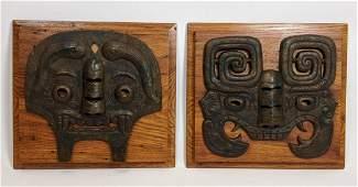 Pr Cast Metal Primitive Tribal Masks. Flat sculptural m