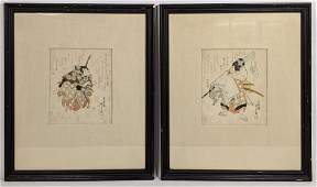 Pr Japanese Woodblock Prints. Signed. Samurai warriors.