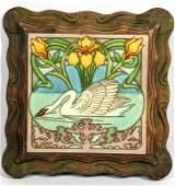 Arts and Crafts Glazed Ceramic Swan Tile. Richly carved