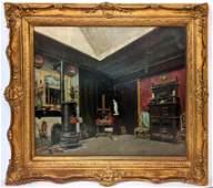 """Large Vintage Oil Painting """"Artist Studio"""". Interior ro"""