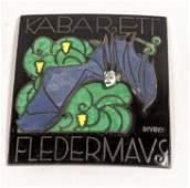 DIVEKY Enamel Bat Plaque. WIENER WERKSTATTE. Small tile