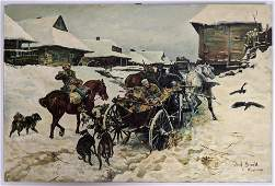 After Jozef Brandt Snowy Winter Scene Painting.