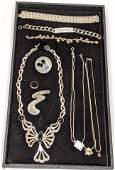 11pc Sterling Silver Contemporary Jewelry Lot. Stylish
