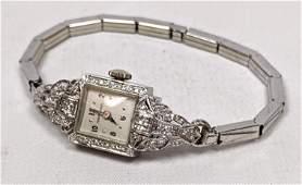 HAMILTON 14k Gold Diamond Ladies Vintage Watch. White g