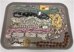 N) Tray lot Pearl, Hematite, Malachite Bead Necklaces,