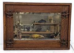 Antique Wide Oak Frame Wall Mirror with Hat Rack Hooks