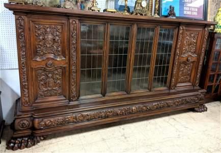 Large 12' Richly Carved Antique Cabinet. Upper cabinet.