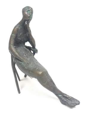 LAURA ZIEGLER Modernist Figural Bronze Table Sculpture.
