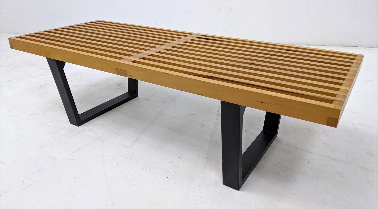 George Nelson Herman Miller Style Slat Bench Table. Map