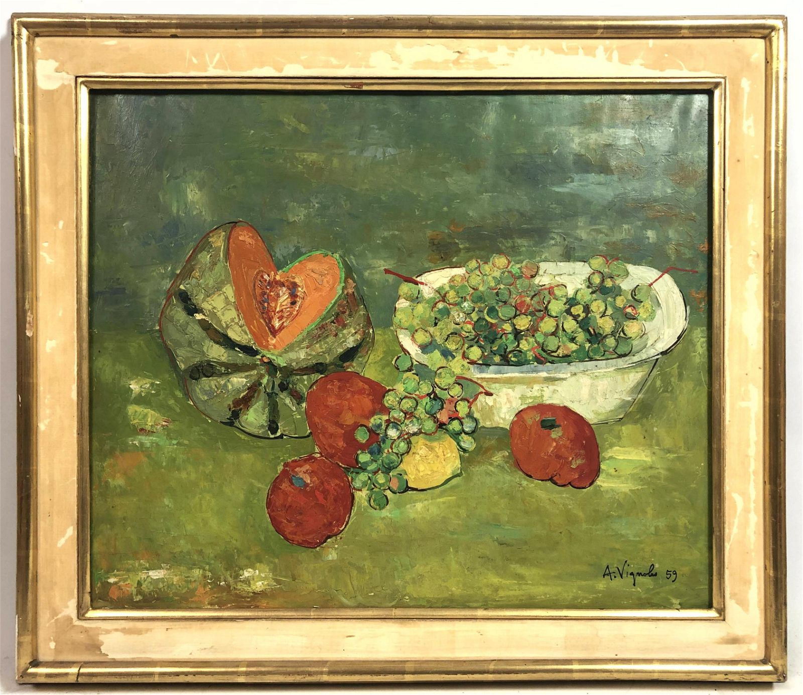 ANDRE VIGNOLES Still Life Oil Painting on Canvas. Fruit