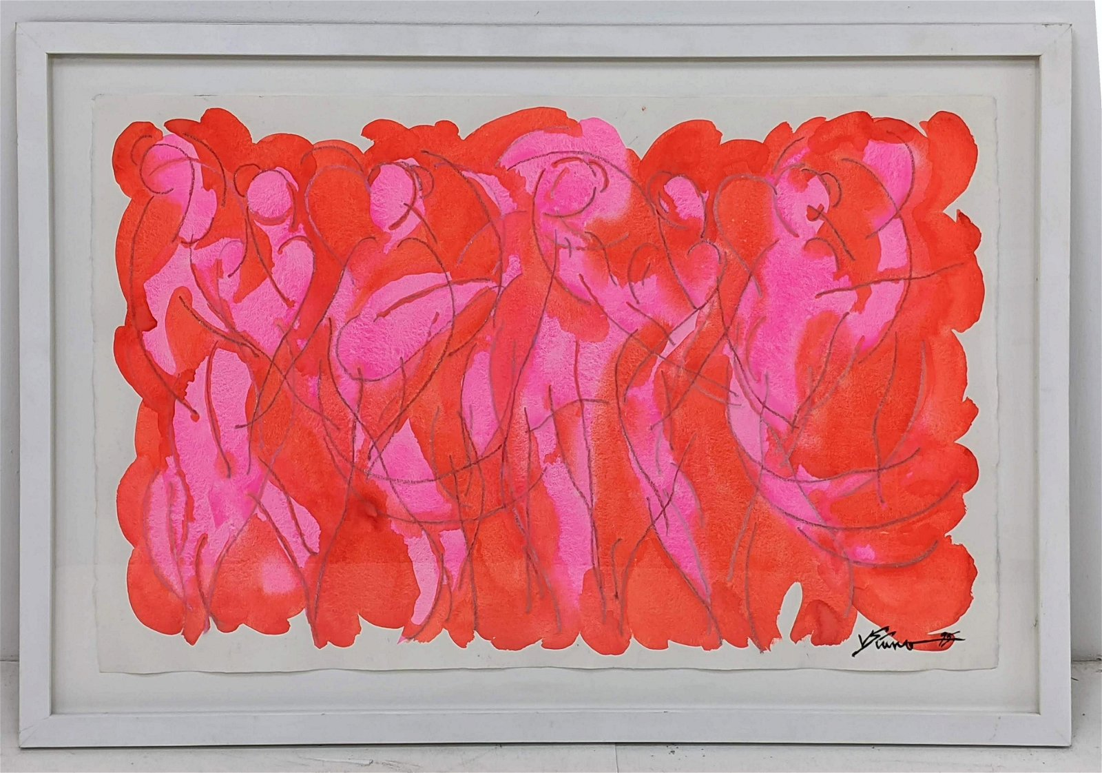 """JERRY SIANO Modernist Abstract Painting on Paper. """"Red"""