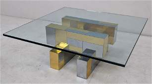 Paul Evans Cityscape Glass Top Cocktail Coffee Table U