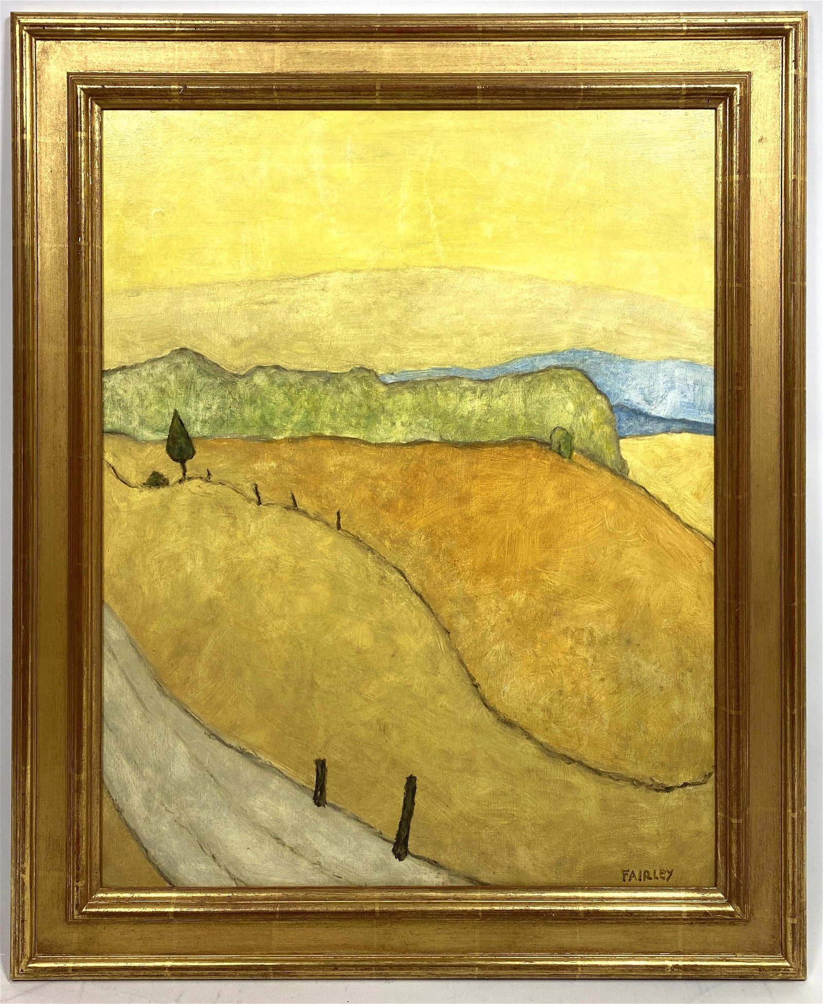 """BARKER FAIRLEY """"Yellow Gate"""" Modernist Oil Painting on"""