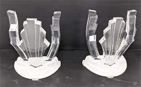 2pc JEFFREY BIGELOW Lucite Ribbon Form Table Bases. Sem