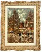 Signed FRANCO RUOCCO Oil Painting on Board. Parisian st